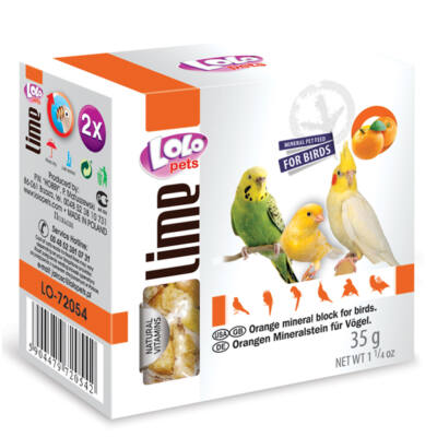 Lolo Lime - Orange mineral block for birds 35 g