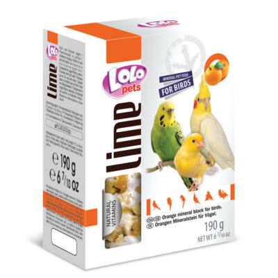 Lolo Lime - Orange mineral block for birds XL 190 g