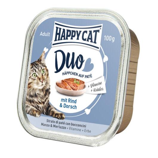 Happy Cat Duo pástétomos falatok marha-tőkehal 100 g 70179