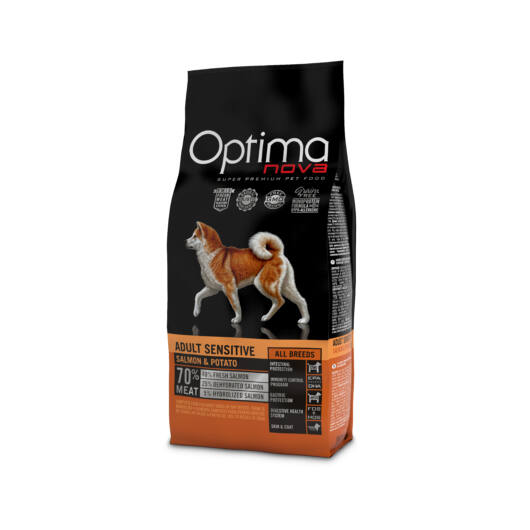 Visán Optimanova Dog Adult Sensitive Salmon & Potato (27/16) GABONAMENTES