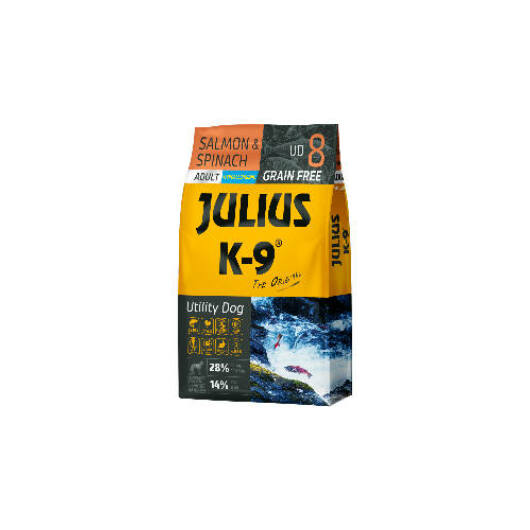 Julius K-9 Grain Free Adult Utility Dog - Salmon & Spinach 10 kg