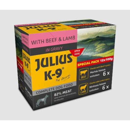 JULIUS K-9 Beef & Lamb válogatás szószban kutyáknak (12x100g)