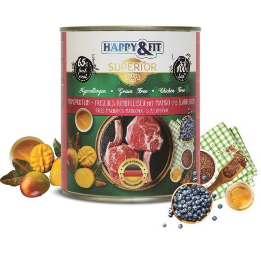 Happy&Fit Superior Dog Konzerv Friss Marhahús mangóval, áfonyával 800g