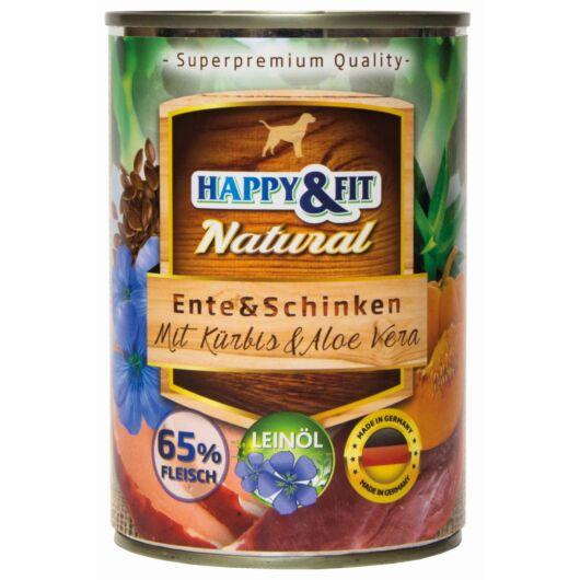 Happy&Fit Natural Dog Konzerv Kacsa&Sonka Sütőtökkel&Aloe Verával 400g