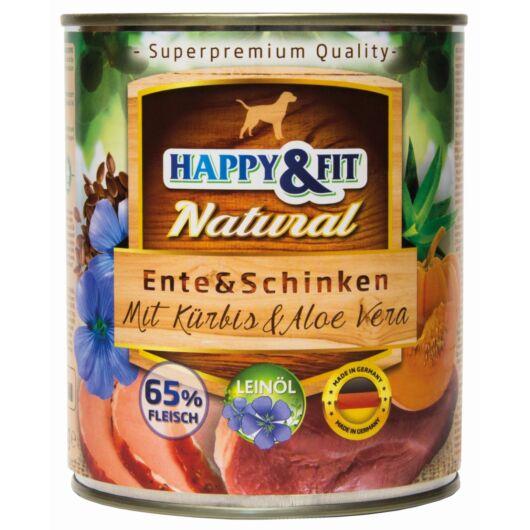 Happy&Fit Natural Dog Konzerv Kacsa&Sonka Sütőtökkel&Aloe Verával 800g