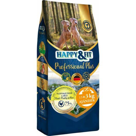 Happy&Fit Professional Plus Puppy&Junior Fresh Poultry&Rice Large 18kg (15kg+3kg ajándék)