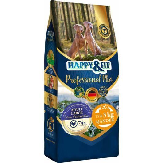 Happy&Fit Professional Plus Adult Fresh Poultry&Rice Large 18kg (15kg+3kg ajándék)