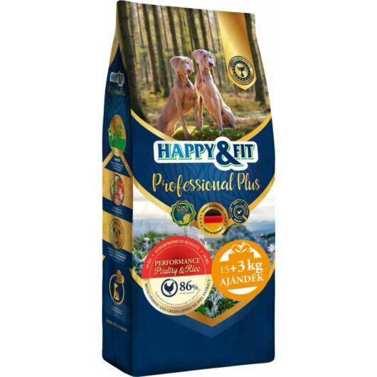 Happy&Fit Professional Plus Performance Poultry&Rice 18kg (15kg+3kg ajándék)