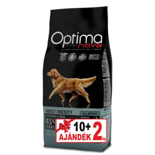 Visán Optimanova Dog Adult Obesity Chicken&Rice 10+2 kg