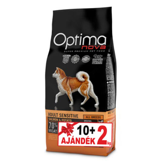 Visán Optimanova Dog Adult Sensitive Salmon&Potato 10+2 kg