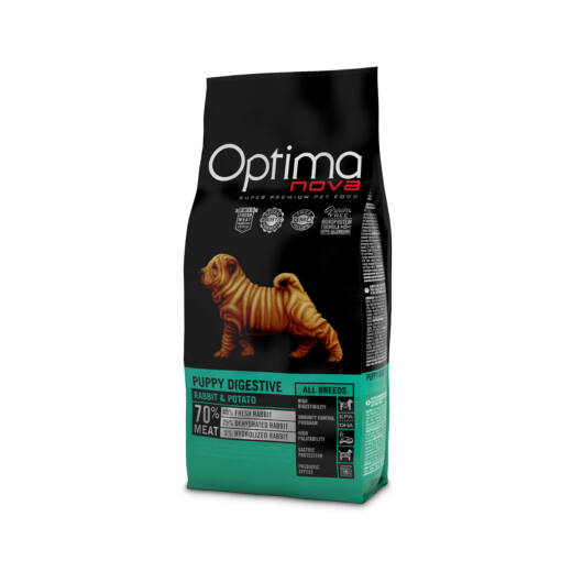 Visán Optimanova Dog Puppy Digestive Rabbit & Potato (29/22) GABONAMENTES