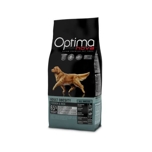 Visán Optimanova Dog Adult Obesity Chicken & Rice (34/9) - túlsúlyos felnőtt kutyák számára